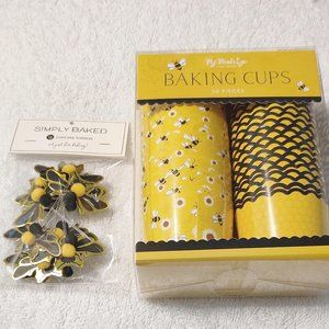 Bundle of Baking Cups & Cupcakes Toppers Bees